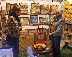 Our booth at the Stowe foliage festival! People love our bags!
