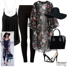 Frugal Fashion Friday Celebrity Inspired Kimono Outfit on Frugal Coupon Living. Kimono Fashion. Black Outfit. Outfit of the Day.