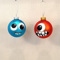 Set of 2 Handpainted Glass Monster Ornaments $20