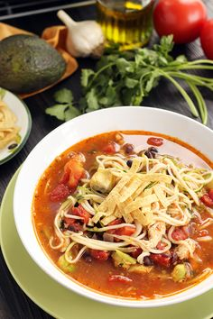 Jalapeno-Lime Chicken, Bean and Avocado Zucchini Noodle Soup