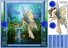 """Fairy Fantasy on Craftsuprint designed by Hilary Hallas - A 7.75"""" x 7.75"""" card topper with decoupage elements and choice of sentiment tags featuring a fairy fantasy scene. Matching insert panel available separately. - Now available for download!"""