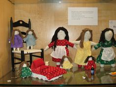 Handcrafted doll display at the Dolley Madison Library