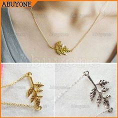 Leaf Pendant Necklace Chain Gold or Silver only $.99 Shipped