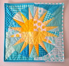 Porch Swing Quilts: Fabric Tuesday: I've gone off the yellow/aqua deep end Circle Quilts, Star Quilt Blocks, Star Quilts, Mini Quilts, Square Quilt, Mug Rug Patterns, Star Quilt Patterns, Quilt Baby, Fat Quarter Quilt