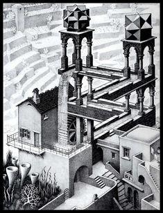 Escher (Waterfall) Art Poster Print - Art Poster Print Art Poster Print by M. Escher, Art Poster Print by M. Illusion Kunst, Illusion Drawings, Illusion Art, Escher Kunst, Inspiration Artistique, Poster Print, Poster Wall, India Ink, Art History