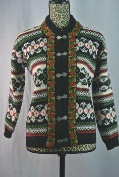 Vintage Size M EUR 40 Gann Sporty Norwegian Wool Sweater Cardigan Pewter Clasps #GannSporty #Cardigan