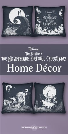 "Do you love Tim Burton's ""The Nightmare Before Christmas?"" Decorate your Halloween home with these canvas pillows featuring images and phrases from the iconic film. Beautifully captured in graphic black and white, this 4-piece set look great together or spread the macabre denizens of Halloween Town all around your home."