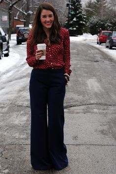 j crew silk heart throb blouse Young Professional, Professional Attire, Teacher Outfits, Work Outfits, Denim Culottes, Sequins And Stripes, Casual Work Attire, Wide Legs, Separates