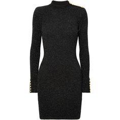 429ce52864 Balmain Button-detailed metallic stretch-knit mini dress ( 1