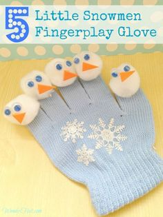 This  DIY tutorial for the 5 Little Snowmen Fingerplay Glove and rhyme will be a childhood favorite for you too!