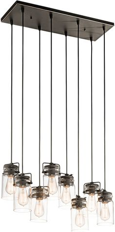 Kichler Brinley 42890 8-Light Multi-Pendant Kichler Brinley Collection Multipendants that look like Ball Canning Jars to hang over a kitchen bar - Brand Lighting Discount Lighting - Call Brand Lighting Sales 800-585-1285 to ask for your best price!