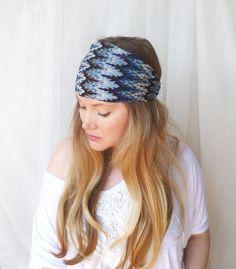 Chevron Headband Hair Wrap Stretchy Missoni Print  Ikat Blue  turban summer fashion. $24.00, via Etsy.