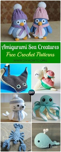 Amigurumi Crochet Sea Creature Animal Toy Free Patterns: Crochet Sea world Animals, Under the sea softie toys, Whales, Seal, Sea Lion... via /diyhowto/