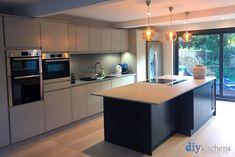 An Innova Luca Bespoke Painted Handleless Kitchen Open Plan Kitchen Dining Living, Real Kitchen, Stone Kitchen, Diy Kitchen Island Extension, Blue Kitchen Island, Bespoke Kitchens, Diy Kitchens, Handleless Kitchen, Kitchen Supplies