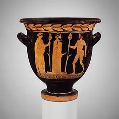 Terracotta bell-krater (mixing bowl)  Attributed to the Pisticci Painter  Period: Classical Date: ca. 430–410 B.C. Culture: Greek, South Italian, Lucanian