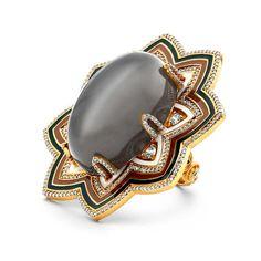 20K Grey Moonstone Enamel Ring Swoonery   Shop Designer Fine Jewelry Online