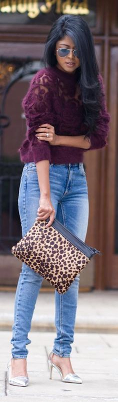 Walk in Wonderland. Beautiful HM plum sweater + animal print clutch + casual jeans and silver heels. Passion For Fashion, Love Fashion, Womens Fashion, Fashion Trends, Fashion Story, Fashion Ideas, Fashion Design, Looks Style, Style Me