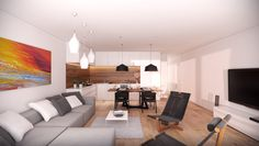 Interior Architectural visualizations: Commercial apartment interior in Czech Republic.