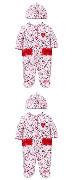 Little Me Girls' First Christmas Cotton Footie, White/Red, 6 Months