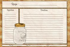 Mason Jar Recipe Card 4x6 - PDF