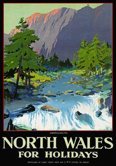 Details about TU58 Vintage North Wales Aberglaslyn LMS Railway Travel Poster…