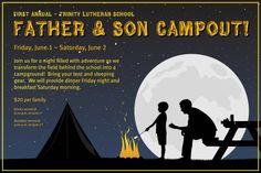 Father&Son-Campout Invitation. Poster, charity, fundraiser, school, church, non-profit. I would love to customize this for your event! Please contact me for details.