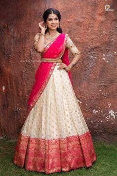 Party Wear Indian Dresses, Party Wear Lehenga, Indian Gowns Dresses, Indian Bridal Outfits, Indian Bridal Fashion, Indian Fashion Dresses, Indian Designer Outfits, Bridal Lehenga, Half Saree Lehenga