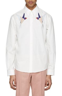 Stella McCartney White Embroidered Bird Shirt from SSENSE (men, style, fashion, clothing, shopping, recommendations, stylish, menswear, male, streetstyle, inspo, outfit, fall, winter, spring, summer, personal)