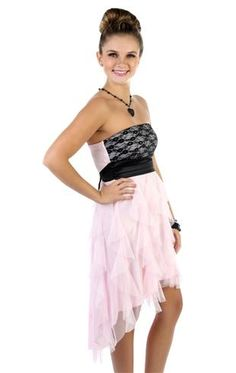 strapless lace satin short 8th grade dance dress with a tendril high low skirt