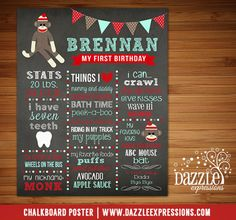 Printable Sock Monkey Chalkboard Poster | Boys 1st Birthday Stats | Favorites | Baby Stats Poster | Party Decorations | Baby's Firsts | Matching Sock Monkey Invitation | Sock Monkey Party Decor