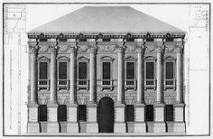 Andrea Palladio (attributed): Palazzo Porto Breganze, designed around 1571, Vicenza, Italy; the original design was foreseeing an elevation with seven bays; the two existing ones were in 1615 built by Vincenzo Scamozzi; conjectural elevation by Ottavio Bertotti Scamozzi