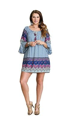 Umgee USA Womens Mini Bell Border Print Dress Tunic Plus Size XL Blue ** See this great product.