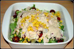 Ensalada facil con pavo, atun y salsa de yogurt y frambuesa