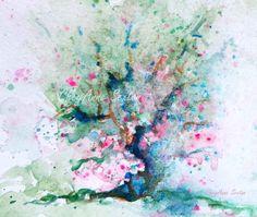 Pink Blue Fairy Apple Tree Misty windblown watercolor ORIGINAL  soft romantic pink teal blue fun fancy fantasy by CheyAnneSexton on Etsy
