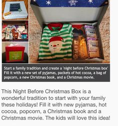 Christmas Eve box. Definitely doing this with kids!