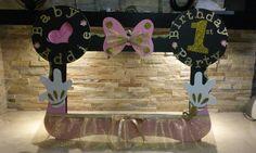 Rosa & Minnie Mouse foto cabina marco oro por mariscraftingparty