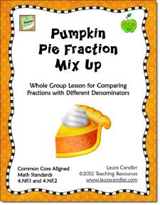 Pumpkin Fraction Mix Up - Comparing Fractions Activity   (CCSS Aligned 4.NF.1 and 4.NF.2)  This active-engagement strategy can be used to introduce or to review the skill of comparing fractions. Students color pumpkin pie patterns to illustrate a given fraction, and then mix around the room comparing fractions. $  Preview entire packet from this page.