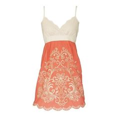 Coral embroidery dress