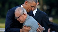President lays wreath at memorial and embraces a survivor of the US atomic bombing that killed 140,000 people