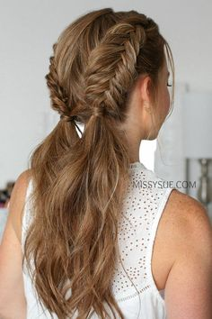 Dutch Fishtail Braid, Fishtail Braid Hairstyles, Box Braids Hairstyles, Short Hairstyles, Long Haircuts, Dutch Pigtail Braids, Double Dutch Braid, Easy Everyday Hairstyles, Teenage Hairstyles