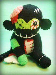 Mini Zombie Sock Monkey Monster - Frankenstein Halloween Handmade Plush/Toy/Doll - Free Gift Tag Included