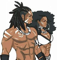 from the comic series Bushida; Bushida & her older brother Akio