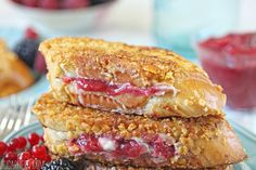 This Mascarpone Rhubarb Stuffed French Toast is a breakfast treat! Challah, mascarpone, and a tangy rhubarb jam make a delicious, indulgent meal.