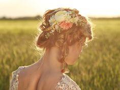 Flower Hair comb floral cream pink orange by MagaelaAccessories Wedding Hair Flowers, Hair Comb Wedding, Flowers In Hair, Flower Hair, Wedding Dress, Bridal Comb, Bridal Hair, Flower Girl Hairstyles, Wedding Hairstyles