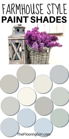 Farmhouse style paint shades from Sherwin Williams. These modern farmhouse style shades will transform you home into a cozy rustic look. #farmhouse #painting #farmhousestyle #rusticdecor #farmhousedecor #sherwinwilliams #homedecor #paint #neutral Rustic Paint Colors, Farmhouse Paint Colors, Neutral Paint Colors, Wall Paint Colors, Neutral Colour Palette, Paint Paint, Gray Paint, Modern Farmhouse, Farmhouse Style