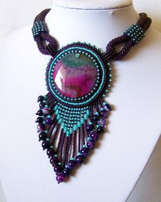Bead Embroidery Necklace Pendant Beadwork Necklace with Agate - MYSTICAL LIFE - purple and mint necklace - statement necklace Crochet Bracelet Pattern, Crochet Beaded Bracelets, Bead Crochet Rope, Bracelet Patterns, Beaded Earrings, Bead Patterns, Bead Embroidery Jewelry, Beaded Embroidery, Handmade Beaded Jewelry