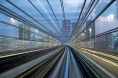 long exposures of Yurikamome High Speed Rails