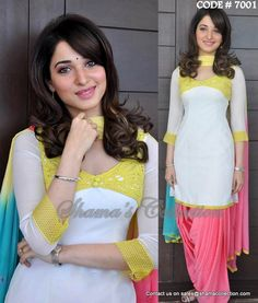 7001 Tamanna Bhatia in white and pastel patiala suit - Shama's Collection