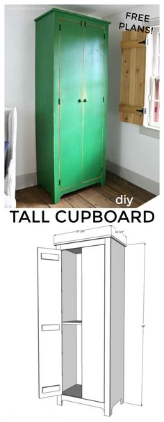 An old fashioned cupboard I just built this past weekend, no it's not this bright green in person, and yes I've put together free plans so you can build it too! Longing for more storage in our living room / office space I designed this primitive farmhouse style tall cupboard with concealed storage in mind. And the beauty of DIY means you can finish your cupboard however you like, I choose green paint with a warm stained interior.
