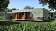 modern concrete single family residence situated in Brandsen, Argentina, designed by Besonias Almeida